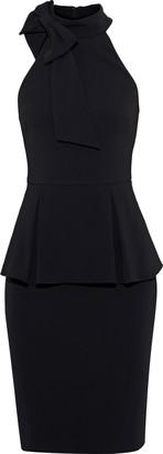 Badgley Mischka Bow-embellished Stretch-crepe Peplum Dress