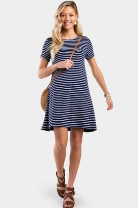 francesca's Fannin Stripe Button Back Dress - Navy
