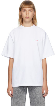 we11done White High-Neck Logo T-Shirt