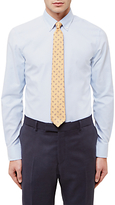 Jaeger Vertical Stripe Slim Fit Cotton Linen Shirt, Light Blue