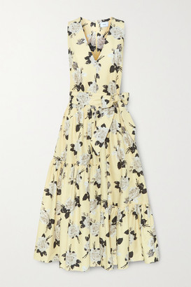 Erdem Mimosa Belted Floral-print Cotton-twill Midi Dress - Pastel yellow