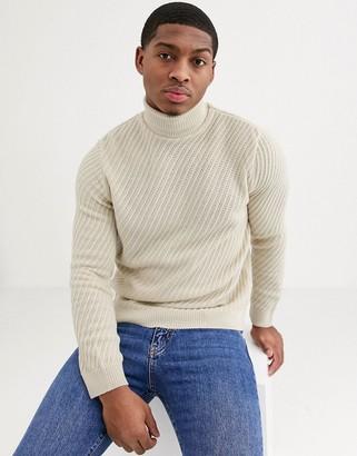 Asos Design DESIGN OVERSIZED roll neck sweater with diagonal rib texture in ecru-Cream