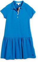 Burberry Cali Smocked Raglan Polo Dress, Blue, Size 4-14
