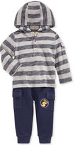 First Impressions Baby Boys' 2-Pc. Striped Henley Hoodie & Cargo Pants Set, Only at Macy's