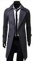 Zeroyoyo Winter Mens Slim Stylish Trench Coat Double Breasted Long Jacket