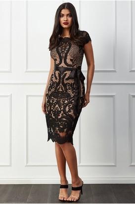 Goddiva Scallop Hem Lace Midi Dress - Black