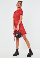 Missguided Red Floral Ruched Side Tea Dress