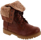 JJF Shoes Anna Bella Marie Dallas-11 Womens Fur-Lined Foldable Cuff Lace Up Mid-Calf Combat Boots