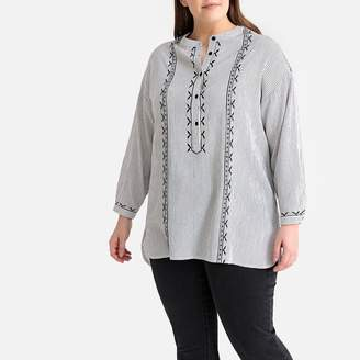 La Redoute Collections Plus Striped Embroidered Tunic with Mandarin Collar