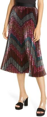 le superbe Love Street Floral Chevron Pleated Skirt