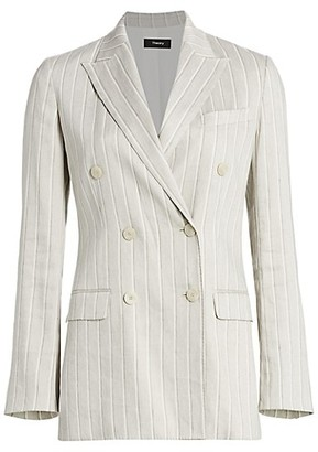 Theory Striped Double-Breasted Blazer