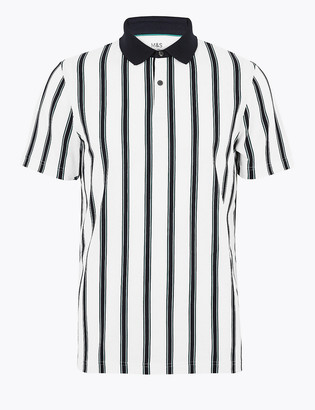 Marks and Spencer Pure Cotton Vertical Striped Polo Shirt