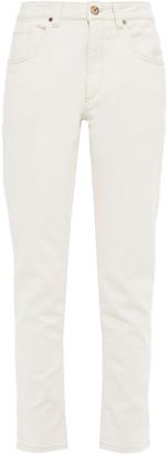 Brunello Cucinelli Bed-embellished Mid-rise Slim-leg Jeans