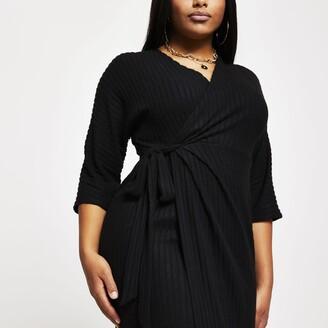 River Island Womens Plus Black wrap tie waist midi dress