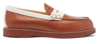 Tod's Bi-colour Topstitched Leather Loafers - Tan White