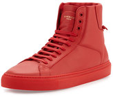 Givenchy Leather High-Top Sneaker, Red