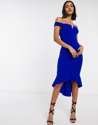 AX Paris bardot fishtail midi dress