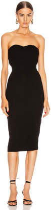 Enza Costa Silk Rib Strapless Sweetheart Midi Dress in Black | FWRD