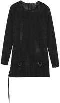 Anthony Vaccarello Perforated Faux Suede Mini Dress
