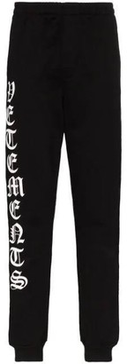 Vetements Gothic Logo Drawstring Sweatpants Black