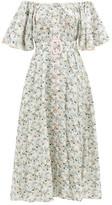 Gül Hürgel Off-the-shoulder Belted Floral-print Linen Dress - Womens - White Multi