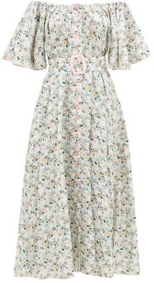 Gül Hürgel Off-the-shoulder Belted Floral-print Linen Dress - White Multi