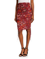 4SI3NNA the Label Vivian Drawstring Ruched Floral Skirt