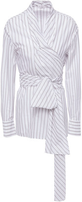 Brunello Cucinelli Striped Cotton Wrap Blouse