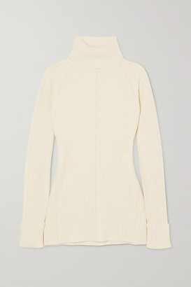 Chloé Ribbed Wool And Silk-blend Turtleneck Sweater - White