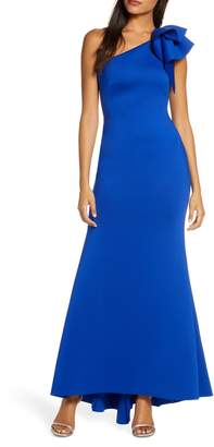 Eliza J One-Shoulder Scuba Crepe Mermaid Gown