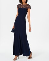 Thumbnail for your product : R & M Richards Beaded-Trim A-Line Gown