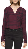 Calvin Klein Long Sleeve Plaid Top