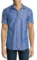 Robert Graham Ridgecrest Short-Sleeve Printed Shirt, Blue