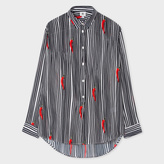 Paul Smith Women's Oversized Striped Silk Shirt With 'Chillies' Print