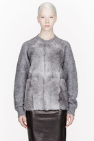 Alexander Wang Grey Brushed Mohair And Goat Fur Sweater