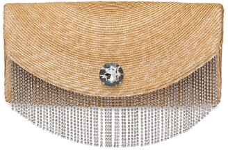 Miu Miu Straw Clutch With Crystals