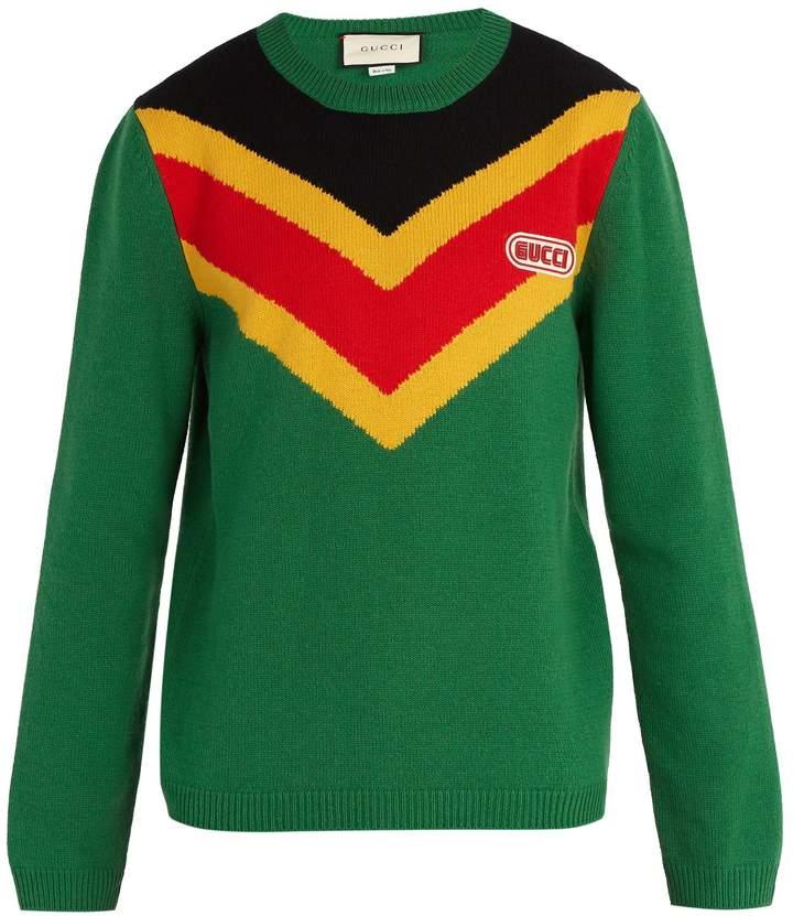 Gucci Chevron-intarsia wool sweater