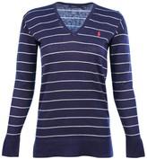 Polo Ralph Lauren Women's Striped V-Neck Sweater-Navy/Nevis-Small