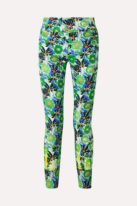Prada Zip-embellished Floral-print Stretch-jersey Leggings - Green