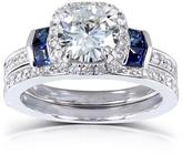 Kobelli Jewelry 1 7/9 CT TW Forever Brilliant Moissanite 14K White Gold Halo Bridal Set with Diamond and Blue Sapphire Accents