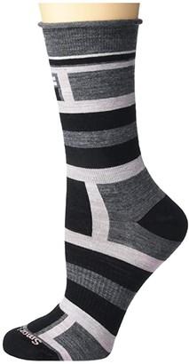 Smartwool Non-Binding Pressure Free Striped Crew (Medium Gray) Women's Crew Cut Socks Shoes