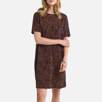 La Redoute Collections Zebra Print Mini Shift Dress with V-Back