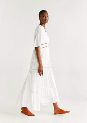 MANGO Ruflled open-work dress