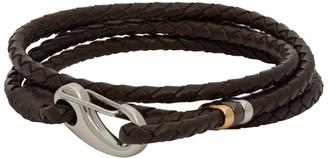 Paul Smith Brown Braided Wrap Bracelet