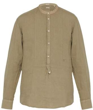 Massimo Alba Collarless Slubbed-linen Shirt - Mens - Green