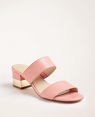 Ann Taylor Liv Leather Block Heel Sandals