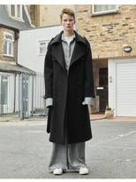 Wool Trench Coat black,herring bone