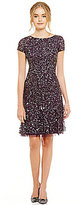 Adrianna Papell Sequin Short Sleeve Dress