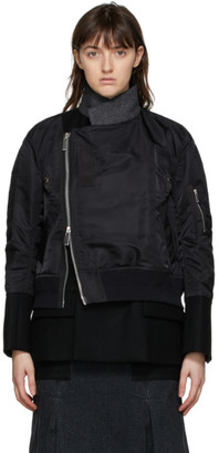 Sacai Black Wool Asymmetric Bomber Jacket