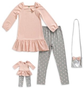 """Online Dollie & Me Girls Ruffle Long Sleeve Tunic and Legging, 2-Piece Outfit Set with 18"""" Doll Set, Sizes 4-14"""
